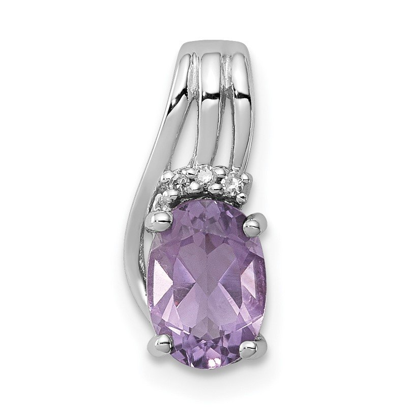 Lester Martin Online Collection Sterling Silver Rhodium Plated Diamond & Amethyst Oval Pendant