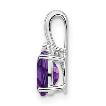 Sterling Silver Rhodium Plated Diamond & Amethyst Oval Pendant