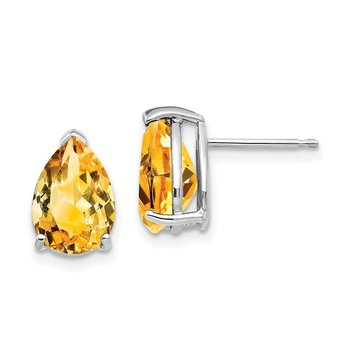 14k White Gold 10x7mm Pear Citrine Earrings