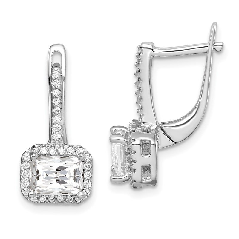 Quality Gold Sterling Silver Rhodium-plated Square CZ Halo Dangle Earrings