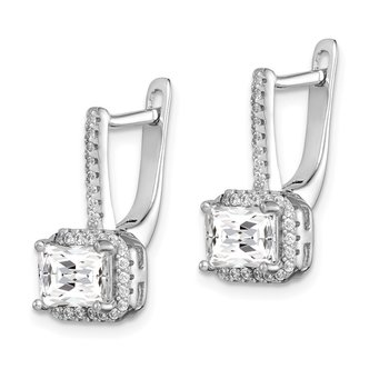 Sterling Silver Rhodium-plated Square CZ Halo Dangle Earrings