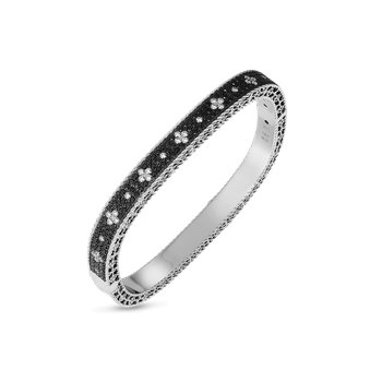18KT GOLD SLIM BANGLE WITH BLACK AND WHITE FLEUR DE LIS DIAMONDS