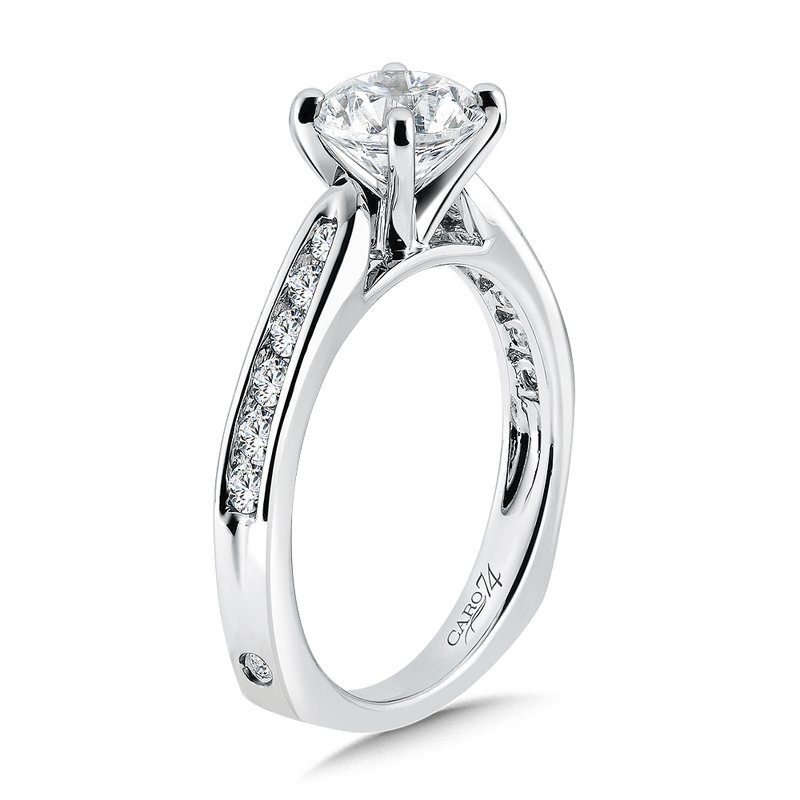 Caro74 Classic Elegance Collection Engagement Ring With Channel-Set Diamond Side Stones in 14K White Gold with Platinum Head (1-1/4ct. tw.)