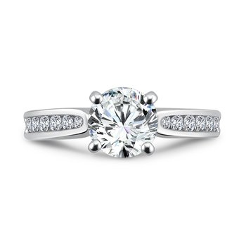 Classic Elegance Collection Engagement Ring With Channel-Set Diamond Side Stones in 14K White Gold with Platinum Head (1-1/4ct. tw.)