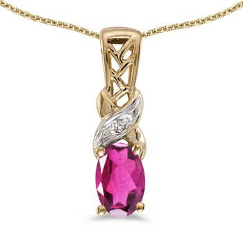 10k Yellow Gold Oval Pink Topaz And Diamond Pendant