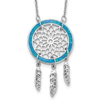Sterling Silver Created Opal Dream Catcher w/ 2in ext. Necklace