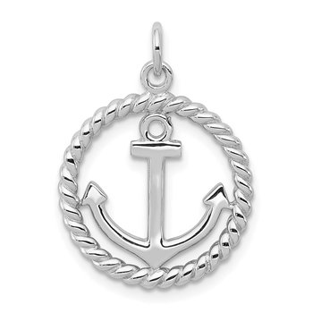 Sterling Silver Rhodium-plated Anchor Pendant