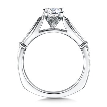 Solitaire mounting .01 tw., 5/8 ct. Princess cut center.