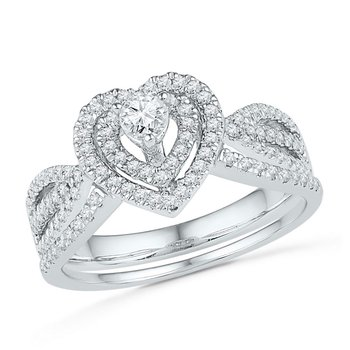 10k White Gold Womens Round Diamond Heart Bridal Wedding Engagement Ring Band Set 5/8 Cttw
