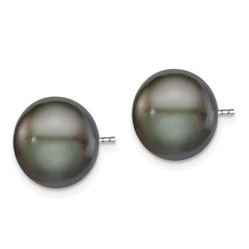 Sterling Silver Rh-plated 11-12mm Black FWC Button Pearl Earrings
