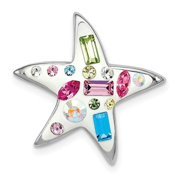 Sterling Silver Rhodium Plated Stellux Crystal Star Slide