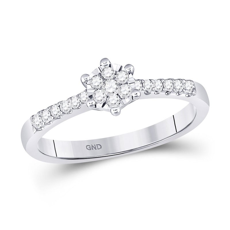 Kingdom Treasures 10kt White Gold Womens Round Diamond Flower Cluster Stackable Band Ring 1/5 Cttw