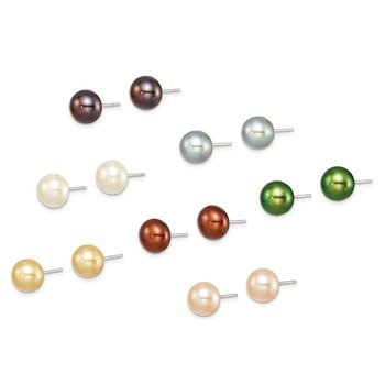 Sterling Silver 8-8.5mm FW Cultured Button Pearl Set of 7 Gift Set
