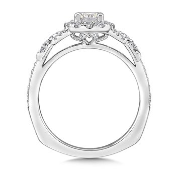 Halo Engagement Ring Mounting in 14K White Gold (.35 ct. tw.)