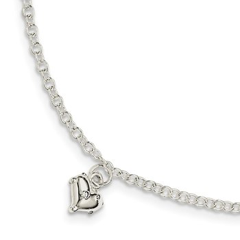 Sterling Silver Children's Polished Heart 5.5in Plus 1.5in ext. Bracelet