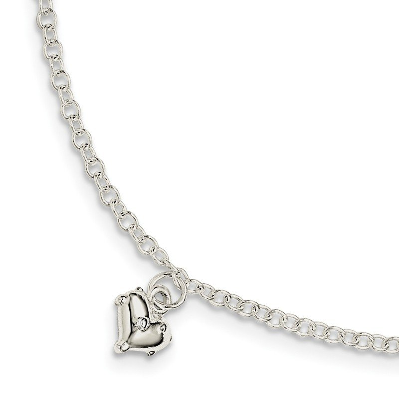 Quality Gold Sterling Silver Children's Polished Heart w/1.5in ext. Bracelet