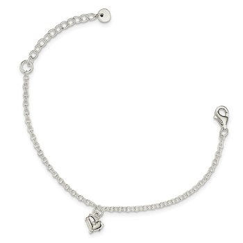 Sterling Silver Children's Polished Heart w/1.5in ext. Bracelet