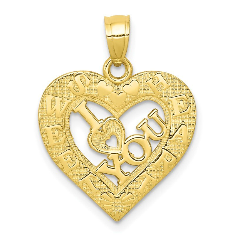 Lester Martin Online Collection 10K I LOVE YOU Heart Charm