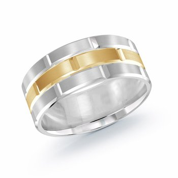Trendy 9mm white and yellow gold brick motif satin finish band with high polished grooved accents