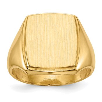 14k 14.5x13.0mm Closed Back Mens Signet Ring
