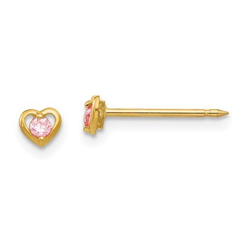 Inverness 14k Heart w/Pink CZ Earrings