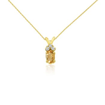 14K Yellow Gold Oval Citrine Pendant with Diamonds