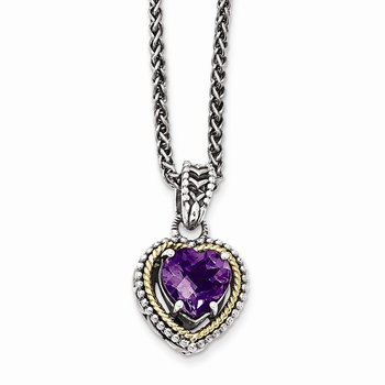 Sterling Silver w/14k Antiqued Amethyst Heart Necklace