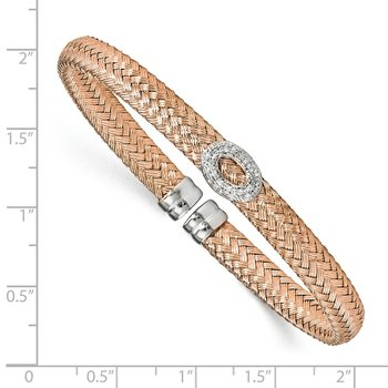 Leslie's Sterling Silver Rose-tone CZ Woven Cuff