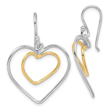 Sterling Silver Gold-Plated Double Heart Wire Dangle Earrings