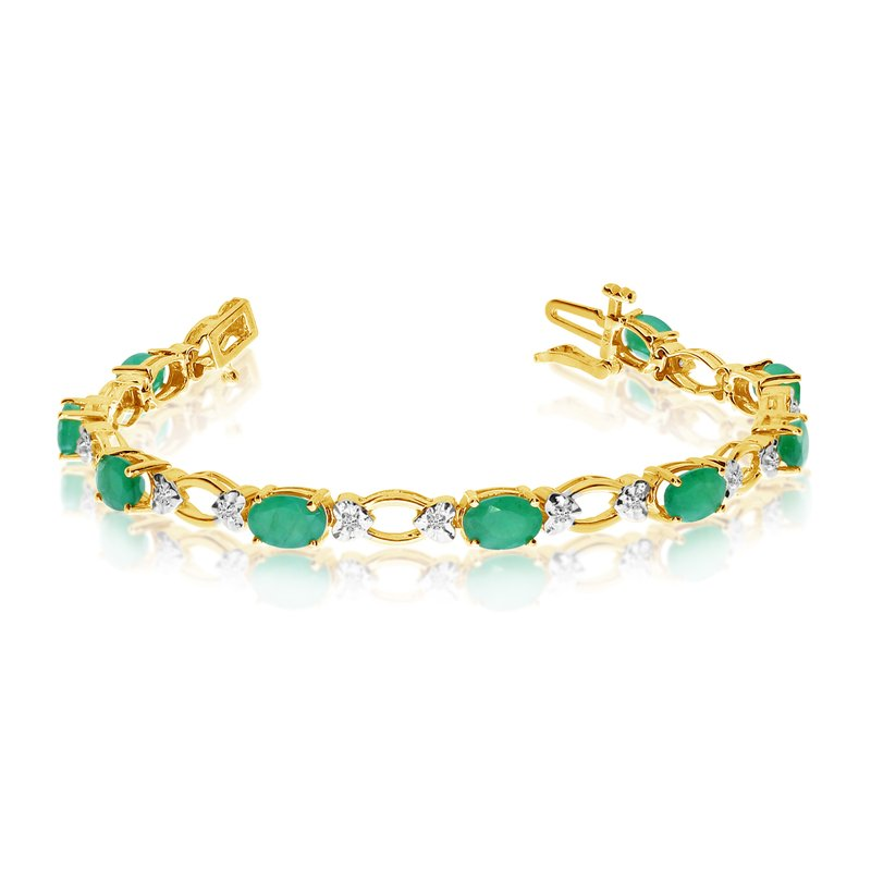 Color Merchants 14k Yellow Gold Natural Emerald And Diamond Tennis Bracelet