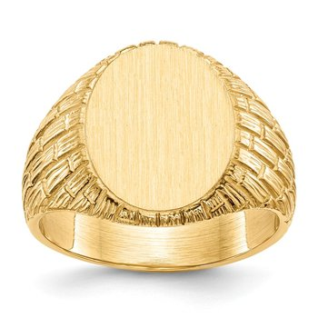 14k 15.0x12.0mm Closed Back Men's Signet Ring