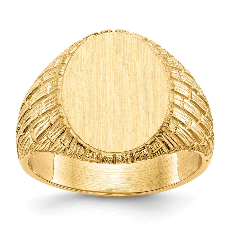 Quality Gold 14k 15.0x12.0mm Closed Back Men's Signet Ring
