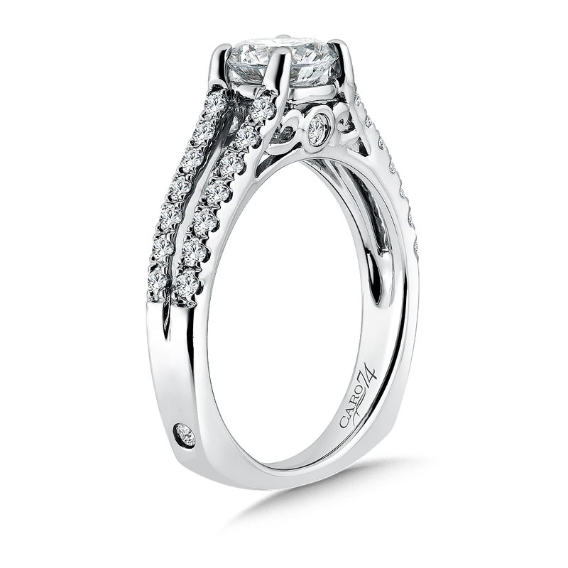 Classic Elegance Collection Split Shank Diamond Engagement Ring in 14K White Gold with Platinum Head (1ct. tw.)