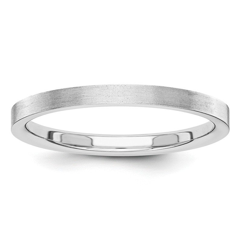 Quality Gold 14k White Gold 2mm Flat Satin Band