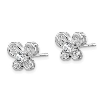 Sterling Silver Rhodium-plated White Topaz Earrings