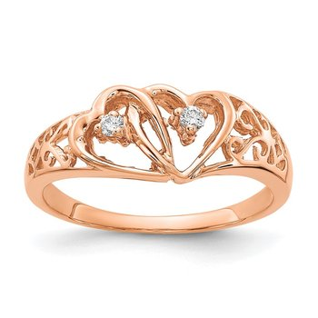 14k Rose Gold A Diamond heart ring