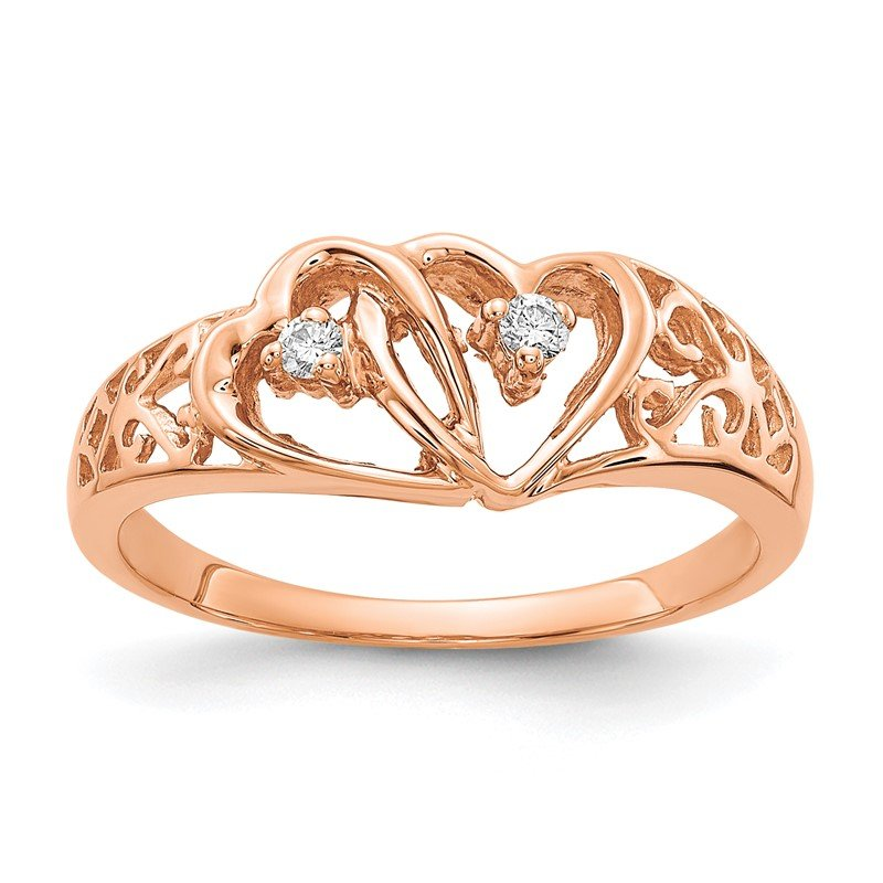Quality Gold 14k Rose Gold A Diamond heart ring