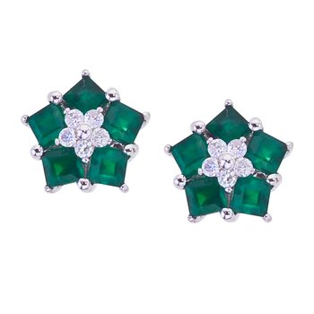 14k White Gold Emerald and Diamond Floral Star Earrings