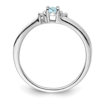 Sterling Silver Rhodium-plated Aquamarine Birthstone Ring
