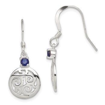 Sterling Silver Iolite Round Polished Filigree Dangle Earrings