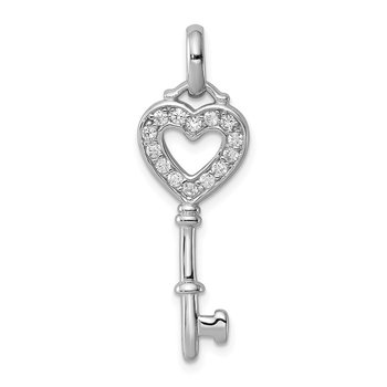 Sterling Silver Rhodium Plated CZ Key Pendant