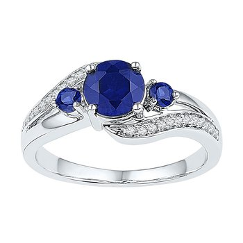 Sterling Silver Womens Round Lab-Created Blue Sapphire 3-stone Ring 1.00 Cttw