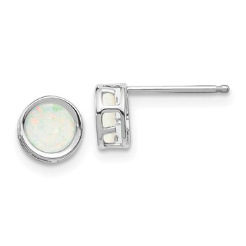 14k White Gold 5mm Bezel Opal Stud Earrings