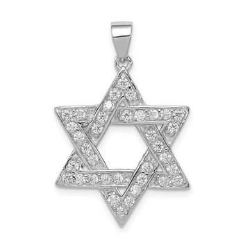 Sterling Silver CZ Star of David Pendant