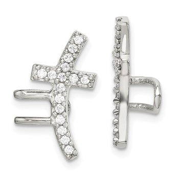 Sterling Silver CZ Cuff Earrings