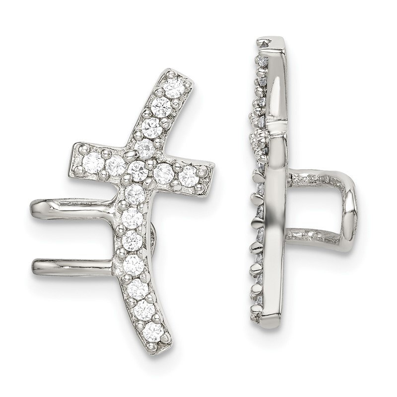 J.F. Kruse Signature Collection Sterling Silver CZ Cuff Earrings