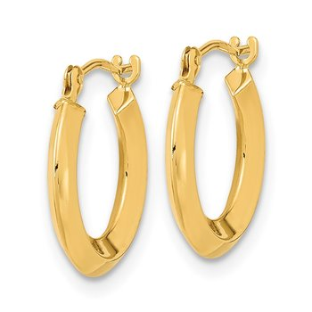 14k Polished Knife Edge Hoops