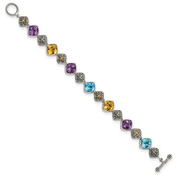 Sterling Silver w/14k Multi Gemstone Bracelet