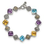Quality Gold Sterling Silver w/14k Multi Gemstone Bracelet