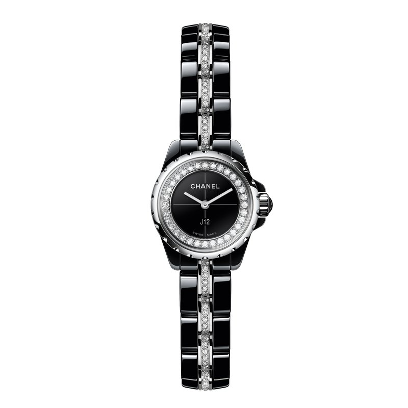 CHANEL J12 XS Black with Diamonds Flange and Bracelet